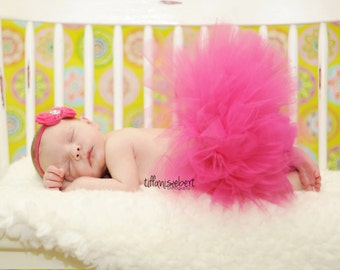 Hot Pink/ Fushia newborn tutu with headband....newborn tutu, baby tutu, birthday tutu, photography prop