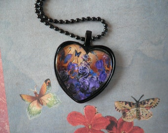 Purple Flowers and Butterflys Necklace