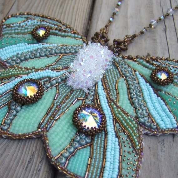 Embroidered Beads: Green Butterfly Necklace Statement Necklace Bead