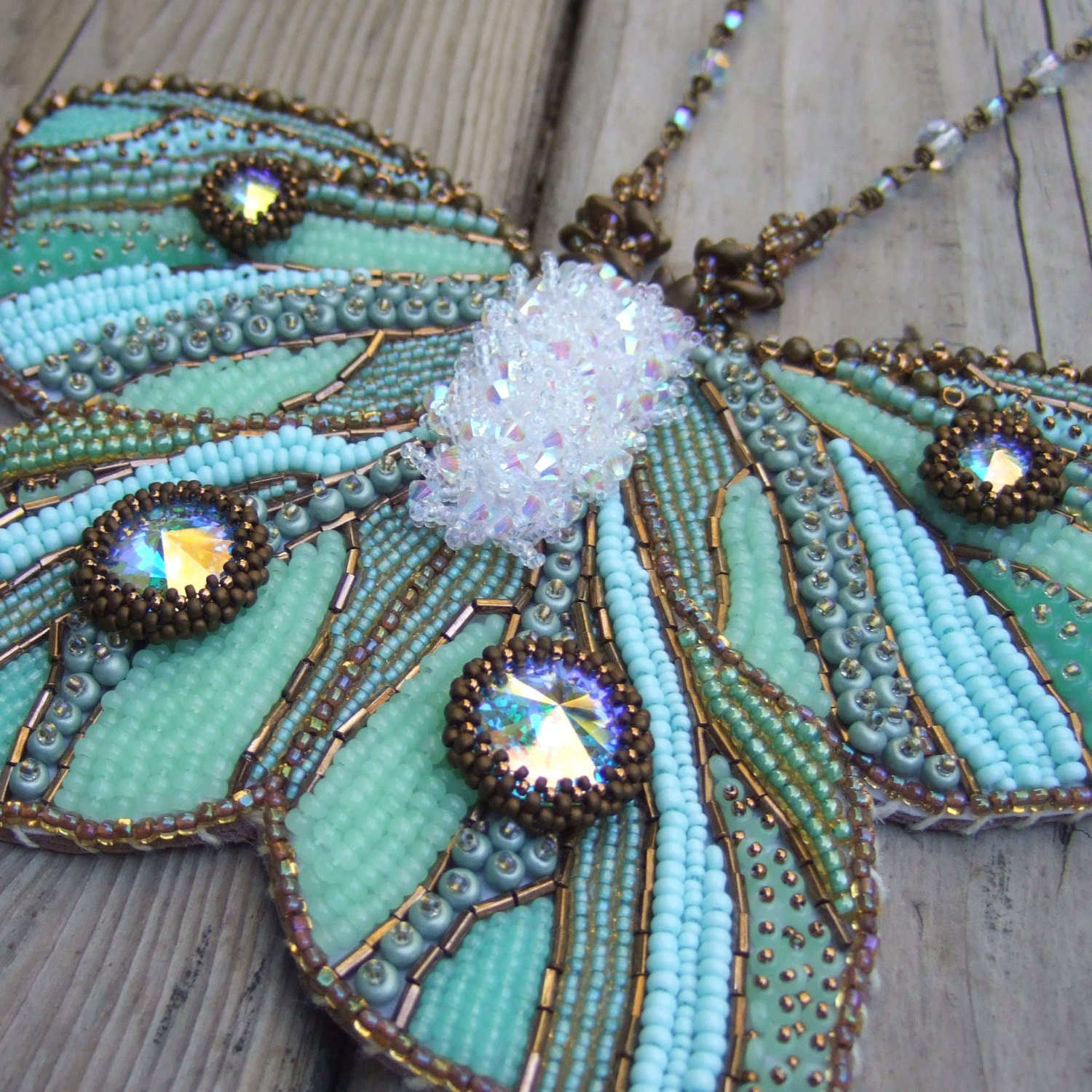 Green Butterfly Necklace Statement Necklace Bead