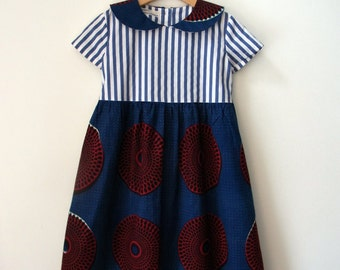 DRESS MIA AFRICA, Girl's Dress, Striped Top with Collar and Wide Skirt in African Print Fabric, Blue, White, Dark Blue, Dark Red Colors