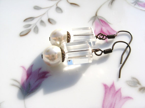 Crystal Cubes with Glass White Pearl Earrings