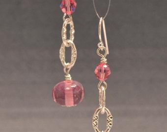 Handmade Sterling silver and Pink Lampwork glass earrings-SRA