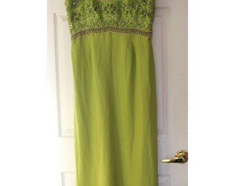 Green Sleeveless Sparkle Evening Gown Chartreuse Lime Green 1960s Pearls and Rhinestones Fab