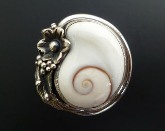 Handmade Sterling Silver and Shiva Eye Shell Ring - Custom Made Sterling Shell Ring - White Shell Ring Made to Order