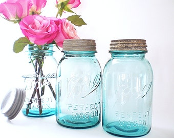 Authentic Vintage Turquoise Blue Mason Jars Ball Jar Collection Rustic Cottage Chic Wedding Vases Turquoise Kitchen Storage Jars  Zinc Lids