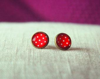 Polka dot earrings RED