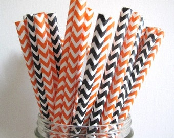 25 Orange and Black Chevron Paper Straws Wedding Birthday Baby Shower Party / Cake Pop