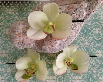 real touch ivory and light green phalaenopsis orchid hair clips