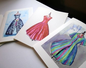Blank Fashion Notecards, Vintage Dress Watercolor Art Note Cards Ed. 3, Set of 4