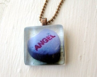 Valentines Necklace - Purple Angel Heart Necklace - Purple Candy Heart - Glass Tile Pendant Necklace - Art Photo