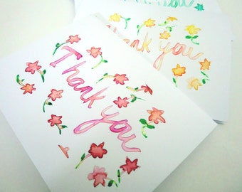 Spring Thank You Card - Floral Watercolor Card Set - Colorful Art Thank You Cards, Set of 12