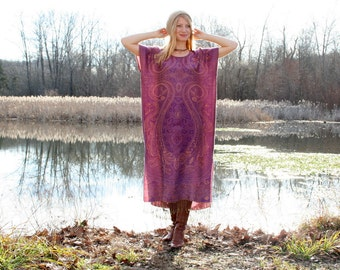 WINTER SALE Silk & Cashmere Gypsy Kaftan Dress with Fringe Boho Style One Size - Purple