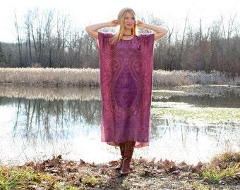 Silk & Cashmere Gypsy Kaftan Dress with Fringe Boho Style One Size - Purple
