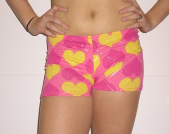 Pink and yellow cotton lycra shorts