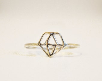 diamond shaped ring - sterling silver - free shipping