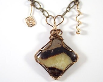 Bohemian Necklace Wire Wrapped Stone Jewelry Mixed Metal Pendant