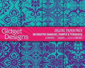 Purple Digital Paper Pack Digital Damasks Printable Instant Download Turquoise Vintage