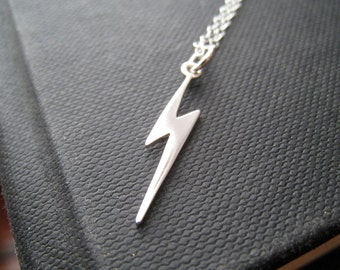 Lightening bolt charm necklace, dainty sterling silver necklace, nymetals