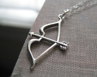 Bow and Arrow necklace, Cupid's necklace, sterling silver bow and arrow charm