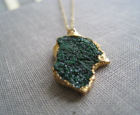 Dark Green garnet Uvarovite druzy necklace, gold edged pendant, unique one of a kind necklace jewelry