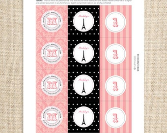 Paris Party Circles by FLIPAWOO (cupcake toppers or tags) - Passport to Paris Collection - Customized Printable Files