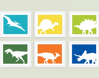 Dinosaurs Art Prints - Dinosaur Nursery Prints - Set of Six - Modern Dinosaurs - Green Orange Teal Yellow - Boy Nursery - Boy Bedroom Art