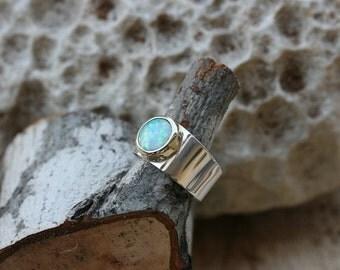Opal Ring, Silver Ring, Handmade Ring, Sterling Silver Ring, Silver and Gold , Birthstone Ring,