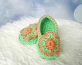 Baby Booties Lime and Orange Flower 0 - 3 months