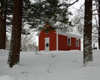 One Room Schoolhouse, Red School House, Sudbury MA, Old Schoolhouse, Fine Art Print, New England Winter Scene, Winter Wonderland, Fine Art