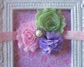Pastel Easter---Shabby Chic Vintage Style Headband---Light Pink, Pastel Green, Light Purple