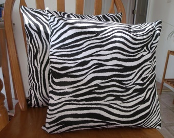 Zebra strip pillow covers