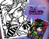 PRINTABLE Digi Stamp Mad Hatter Coloring Page Fun Fantasy Art Hannah Lynn