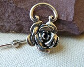 Large Sterling Silver Rose Flower Toggle Clasp -  28mm  -  Beautiful Solid Sturdy Focal Closure