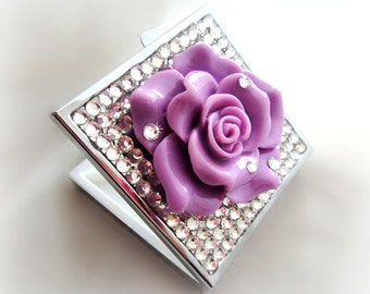 Purple rose pill case, rhinestone pill box, deco bling, gift for her