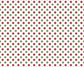 Red Green and White Christmas Small Polka Dot Cotton For Riley Blake, 1 Yard