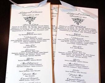 Custom Fold-over  Wedding Program with Satin Ribbon Tie - Deposit