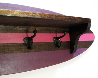 "Surfboard Shelf Coat Rack 28"" Pink and Plum"