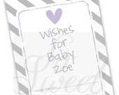 Baby Wish Cards - Girls Baby Shower Purple and Gray - Baby Shower Decorations - Baby Advice Cards - Heart and Stripe - Set of 12