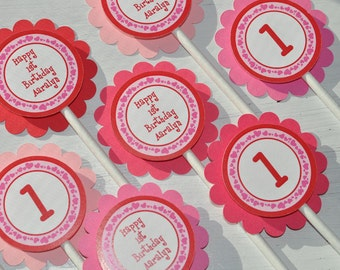 12 Valentine Birthday Cupcake Toppers - Valentine's Day Birthday Party - February Birthday - Heart Birthday Decorations