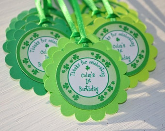 St. Patrick's Day Birthday Favor Tags, Boys 1st Birthday Favors, St. Patricks Day Decorations, Shamrocks, Clovers, Green - Set of 12 Tags