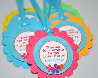 Luau Birthday Favor Tags, Hawaiian Luau Birthday Decorations, Party Favors, Thank You Tags, 1st Birthday Favors, Tiki Party - Set of 12