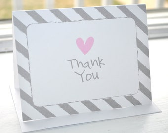 Girls Baby Shower Thank You Cards - Baby Shower Decorations - Pink and Gray - Heart and Stripe - Set of 10