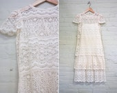 Vintage Cream Lace Cap Sleeve Dress Drop Waist Tiered