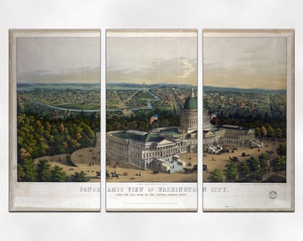 Antique Washington DC Panorama Reproduction Triptych Canvas Giclee