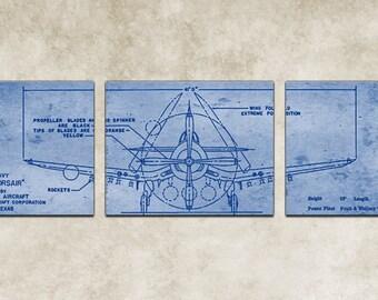 Vintage Vought F4U Corsair Blueprint