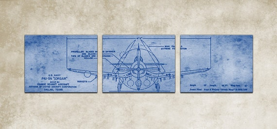 Vintage vought f4u corsair blueprint like this item malvernweather Image collections