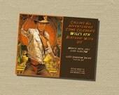 5x7 Custom Birthday Invitation, Party Invitation, Invitation - Printed on Cardstock or Digital Image – Indiana Jones Birthday Invitation