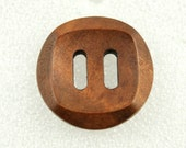 Wholesale - Wood Buttons - Classy Oval Holes Concave Center Light Brown Wooden Buttons, 1.18 inch (50 in a set)