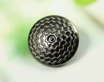 Metal Buttons - ZIG-ZAG Circles Metal Buttons , Gunmetal Color , Shank , 0.91 inch , 10 pcs